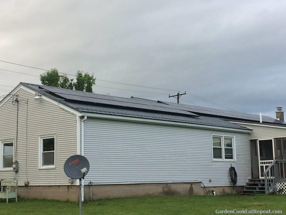 Facing south solar panels