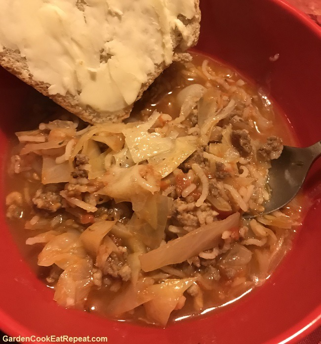 Homemade bread and cabbage roll soup