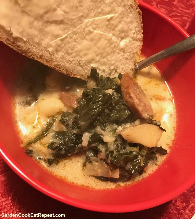 Homemade Bread with Potato Leek Kale Sausage Soup