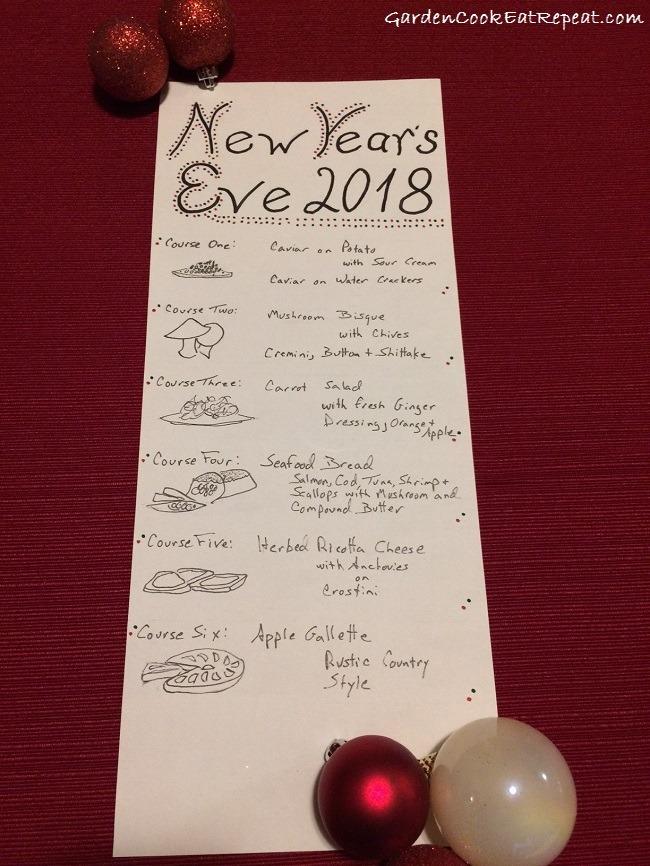 2018 NYE Menu