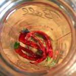 Cayenne peppers into the jar