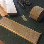 Wrap cedar boards in burlap