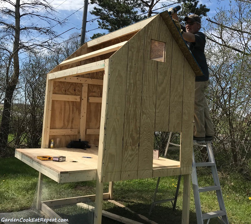 Putting roof on coop