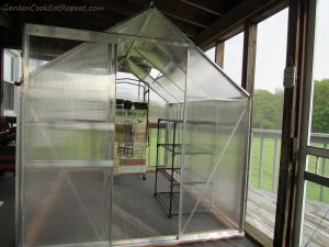Greenhouse installed on back porch