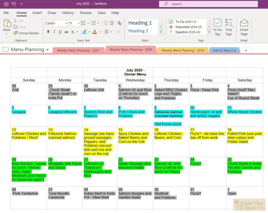 Sample July Monthly Meal Plan